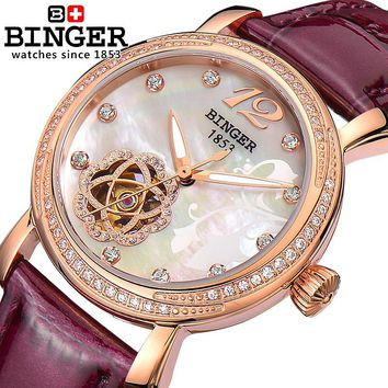 Switzerland Binger Women's watches fashion luxury watch leather strap automatic winding mechanical Wristwatches B-1132L-5