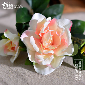 5 Pieces HOT Silk Flower European Artificial Flowers 2 Colour Fall Vivid Peony Fake Leaf  Wedding Home Party Decorations