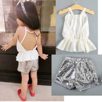 Girls Halter Top + Sequins Pants Clothing Sets