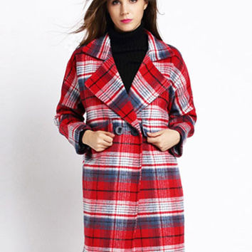 Thick Plaid Stitching Loose Woolen Coat