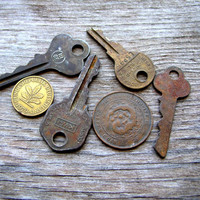 Old Keys and Coins for Crafts