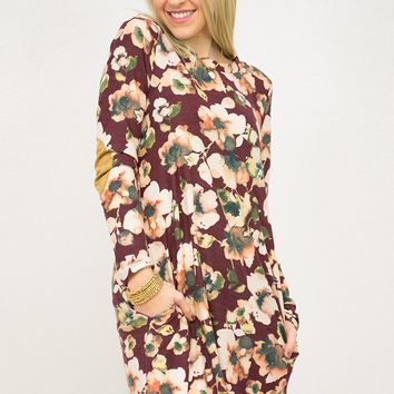 Floral Elbow Patch Pocket Dress