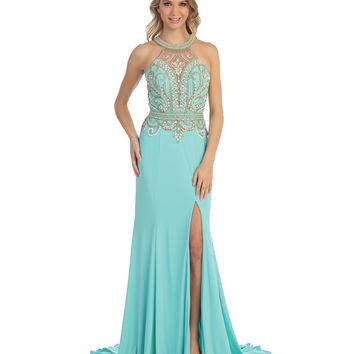 Aqua Beaded Open Back Halter Slit Gown 2015 Homecoming Dresses