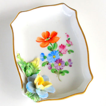 Antique Dresden Trinket Dish Carl Thieme 1912 Germany Porcelain Applied Flowers