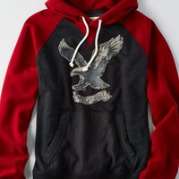 AEO Men's Colorblock Vintage Hoodie (Rustic Red)