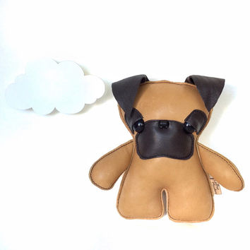 Seymore Pug Pup Plush, Toy Stuffed Plushy Doll, Fawn Leather Softie puppy for Kids and Adults