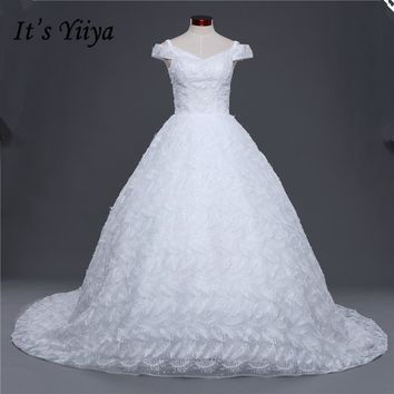 New Boat Neck Feather Trailing Wedding Frocks White Quality Train Wedding Dresses Bride Gowns Vestidos De Novia IY036