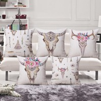 Bohemian Cow Skull Pillow Cover