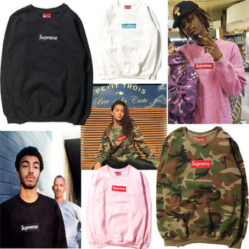"Camouflage Embroidery Couple ""Supreme"" Print Sweatshirt Round-neck Pullover Hoodies [8789473543]"