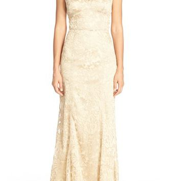 JS Collections Metallic Lace Gown | Nordstrom