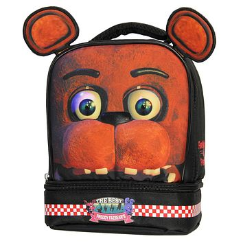 FNAF Lunch Box Soft Kit Dual Compartment Insulated Cooler Five Nights at Freddy's Fazbear with Ears
