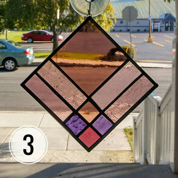 Stained Glass, Suncatcher, Purple Glass, 9-Patch Quilt Square, Quilt Suncatcher, Window Glass Art, Window Panel Window Hanging