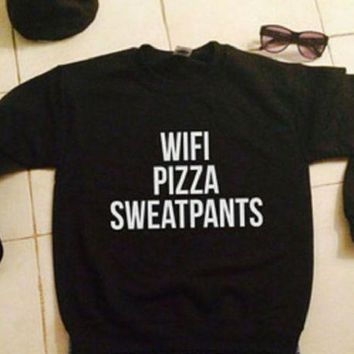 PEAPJ1A Plus velvet thick sweater black men and women with the same wifi pizza sweatpants