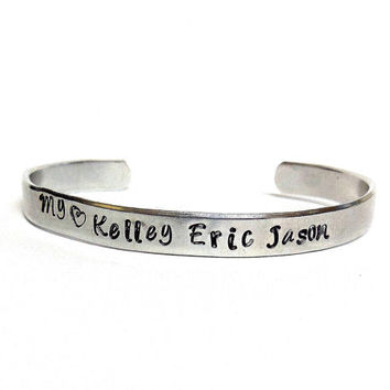 You Personalize Hand Stamped Cuff Bracelet / Personalize Your Way Polished Aluminum Cuff Bracelet / Customized Cuff Bracelet