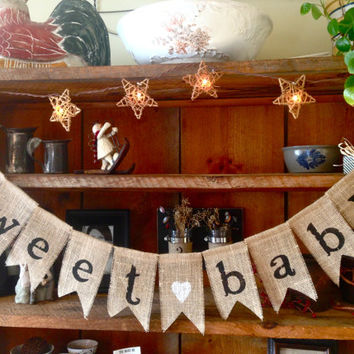Burlap Sweet Baby Bunting, Baby Shower Decoration, Baby Girl Bunting, Baby Boy Bunting, Pregnancy Photo Prop, Country Shower Decor, Burlap