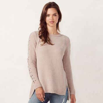 ONETOW Women's LC Lauren Conrad Chenille Lace-Up Crewneck Sweater