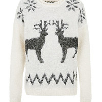 Cream Reindeer Fluffy Christmas Jumper
