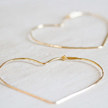 Gold Heart Hoops - 2 Inch Hammered Gold Heart Hoops - Unique, Hand Hammered, Cute, Everyday Wearable, Spring Fashion, Fresh Finds