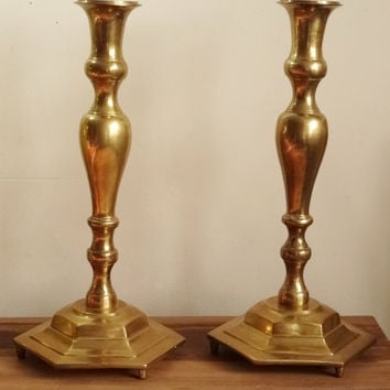 "Large Brass Candle Holders 16"" Heavy 8 lbs ea Church Altar Candlesticks 8"" Base"