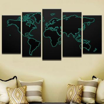 Modular Canvas Painting For Living Room Wall Art Print Picture Gift Home Decoration World Map Black Background Painting