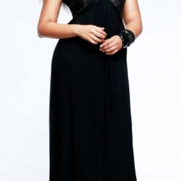 Sequined bust plus size prom dresses by Faviana