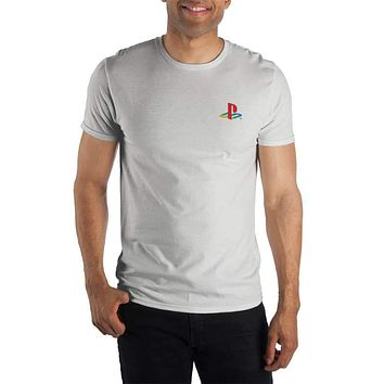 Playstation Logo Speacialty Soft Hand Print Men's White T-Shirt Tee Shirt