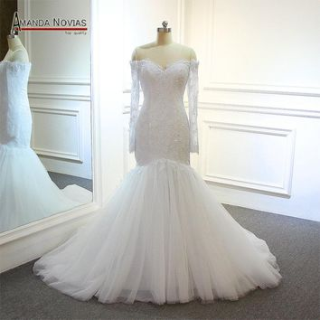 abito da sposa Boat Neck Long Sleeve Lace Appliqued White Mermaid Wedding Dress