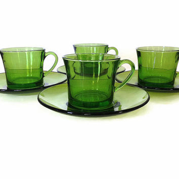 Vintage Espresso Cups and Saucers, Duralex, Green, France, S/4