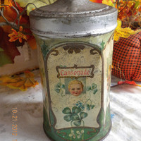 Antique French Tole* Antique French Enamelware* Storage* Tin Canister* Porcelain Knob* 1900s