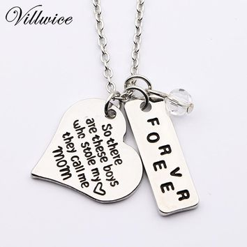 Handstamped So there's this boy,he kinda stole my heart,he calls me mom Mother Son Silver Plated Pendant Necklace