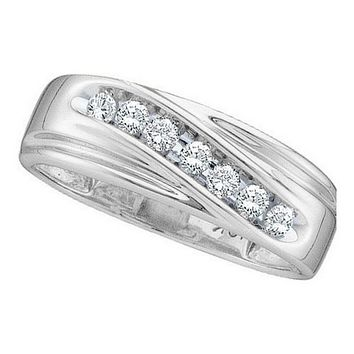 10kt White Gold Men's Round Channel-set Diamond Single Row Wedding Band Ring 1/4 Cttw - FREE Shipping (US/CAN)