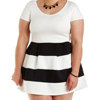Plus Size Color Block Striped Skater Dress