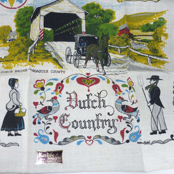 NOS Kay Dee Linen Towel Dutch Country New Old Stock with Tag Still Attached