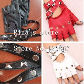 Good quality! women's semi-finger PU gloves punk rivet faux leather fingerless gloves black red white gloves