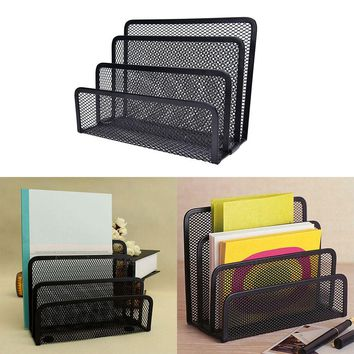 1 pcs Mesh Black Bookend Book Metal Bookends Book Shelves Desk Organizer Office Shelves School Stationery For Kids