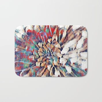 Japanese Inspired Lily Design Sketch Bath Mat by Sheila Wenzel