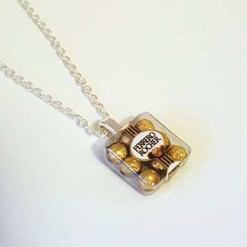 Miniature Necklace Ferrero Rocher Chocolate with Silver Plated Linked or Ball Chain 24 inches