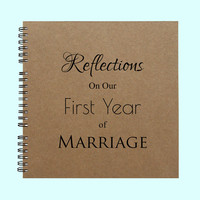 Reflections On Our First Year of Marriage - Book, Large Journal, Personalized Book, Personalized Journal, , Sketchbook, Scrapbook, Smashbook