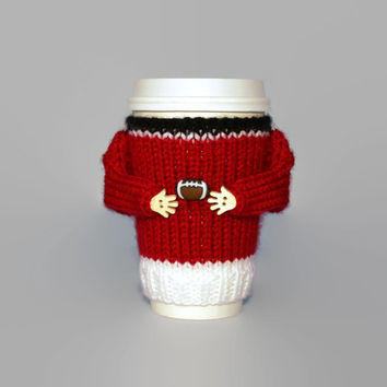 Football cup cozy. Football party. Big game 2017 LI. Red black white. Coffee cozy. Coworker gift. Travel mug cozy. Football gift.