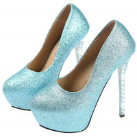 Vintage Round Closed Toe Rhinestones Embellished Stiletto Super High Heel Blue PU Basic Pumps   #889878