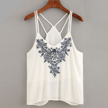 Embroidery Women Cami Crop Tops Flower Printing Strappy Top Camisole Sexy White Shirt Tops For Women cropped feminino