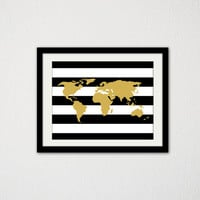 "Black and Gold World Map. Wanderlust and Travel. Modern minimalist Poster. Bedroom Decor. Office Decor. Girly. Stripes. 8.5x11"" Print."