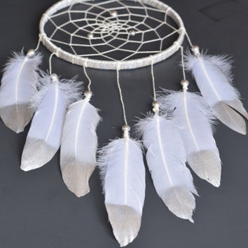 Silver Dreamcatcher, Large Dreamcatcher,Wall Hangind Dreamcatcher, White Dreamcatcher, Silver  Wall Decor, Baby Shower Gift,