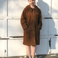 Vintage Classy SUEDE LEATHER COAT with Mink Collar 1960s