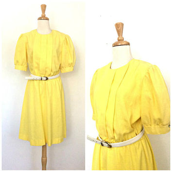 Vintage Yellow Linen Dress -80s dress - sundress - summer dress - midi - cotton dress - M L