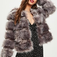 Missguided - Grey Pelted Short Faux Fur Jacket