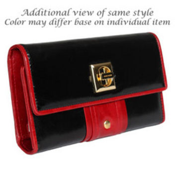 Genuine Italian Leather Gold-Studded Clutch Wallet Color Block - Black/Red