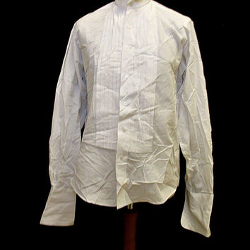 Vintage Croft And Barrow White Tuxedo Wedding Smart Shirt Medium