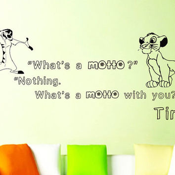 Wall Decals Quote Decal Hakuna Matata The Lion King What's a motto? Nothing Sticker Vinyl Decals Wall Decor Murals Z354