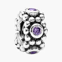 Women's PANDORA 'Her Majesty' Spacer Charm - Sterling Silver/ Purple